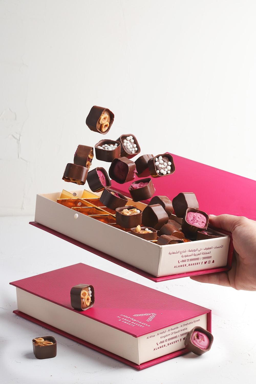 chocolate bars on white box