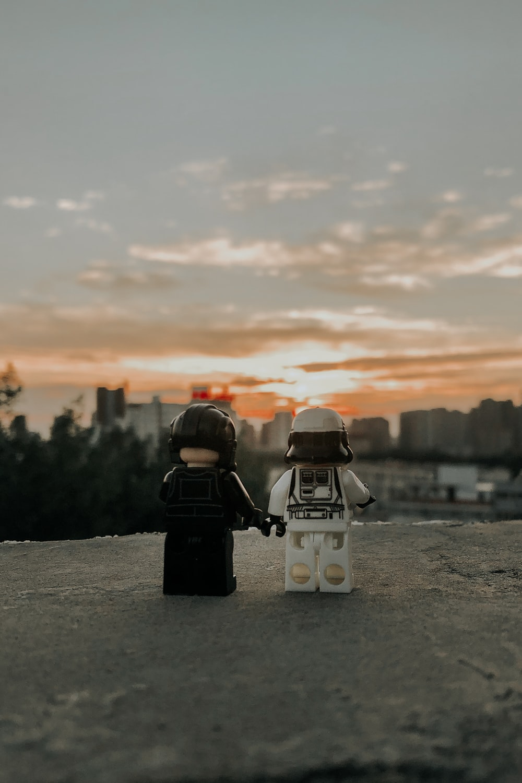 black and white lego toy