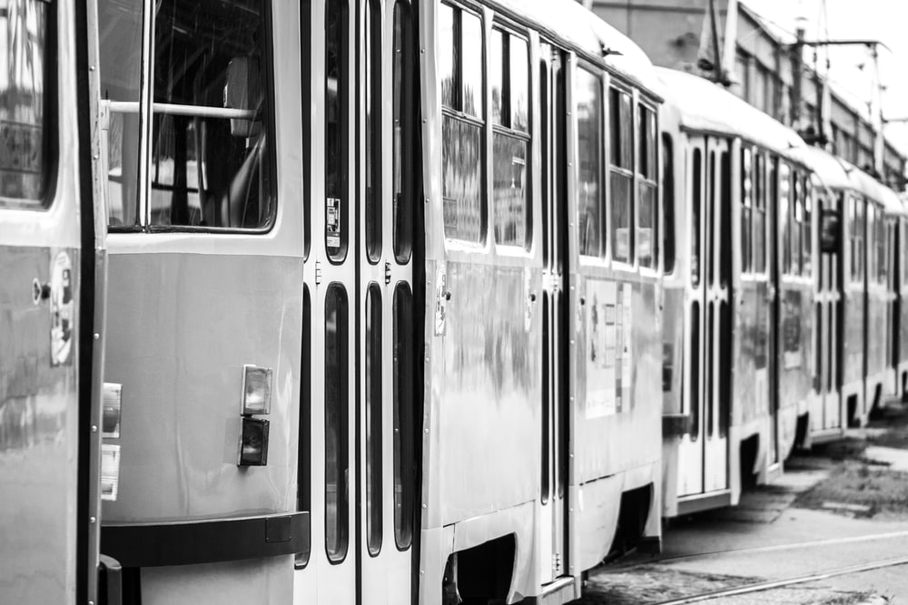 white and black train during daytime