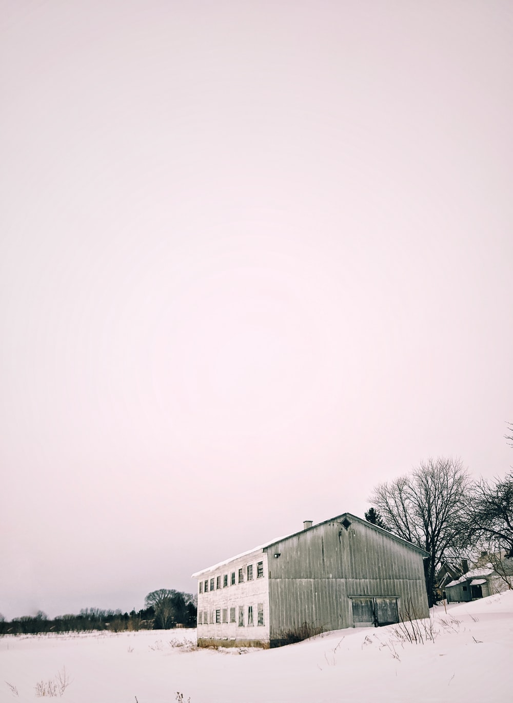 white and gray house under white sky