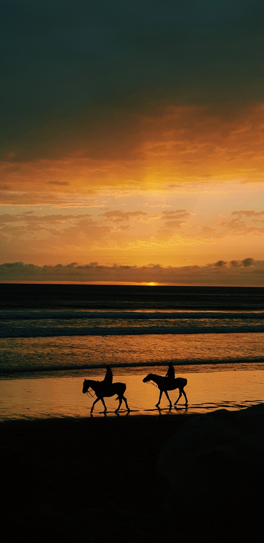 silhouette of 2 person walking on beach during sunset