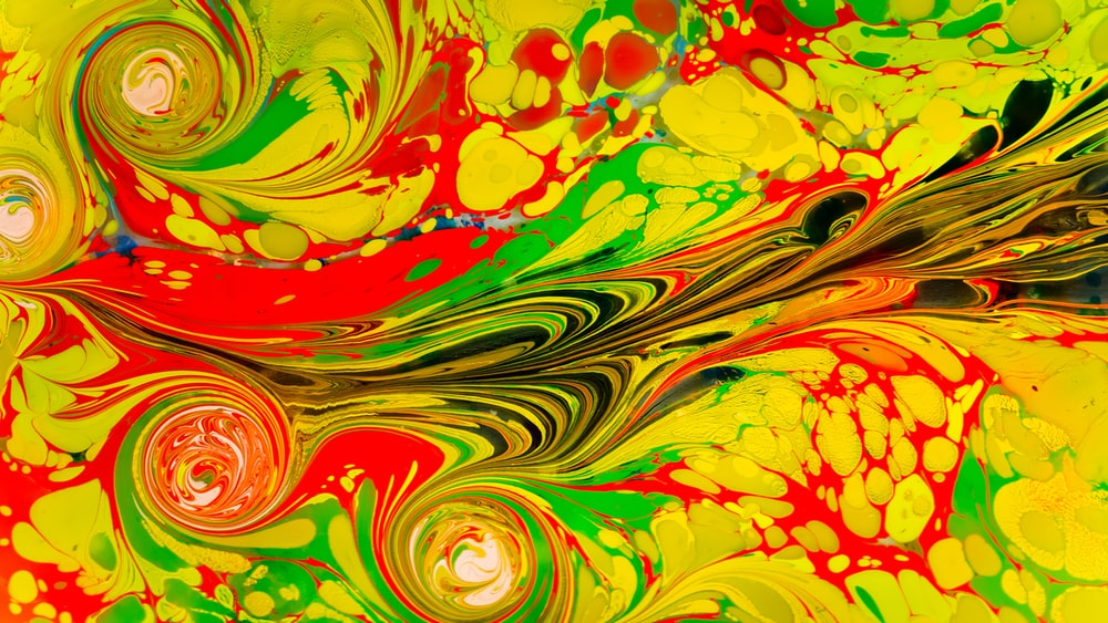 red yellow and green abstract painting