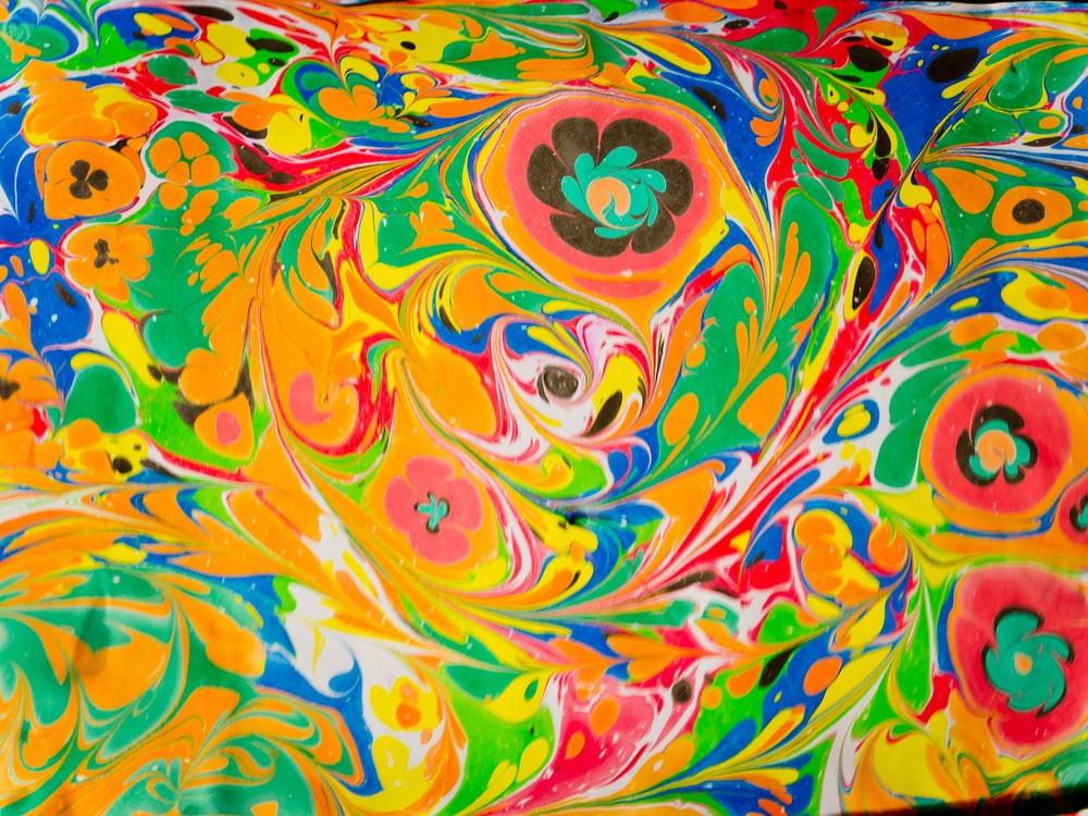 yellow pink and blue abstract painting