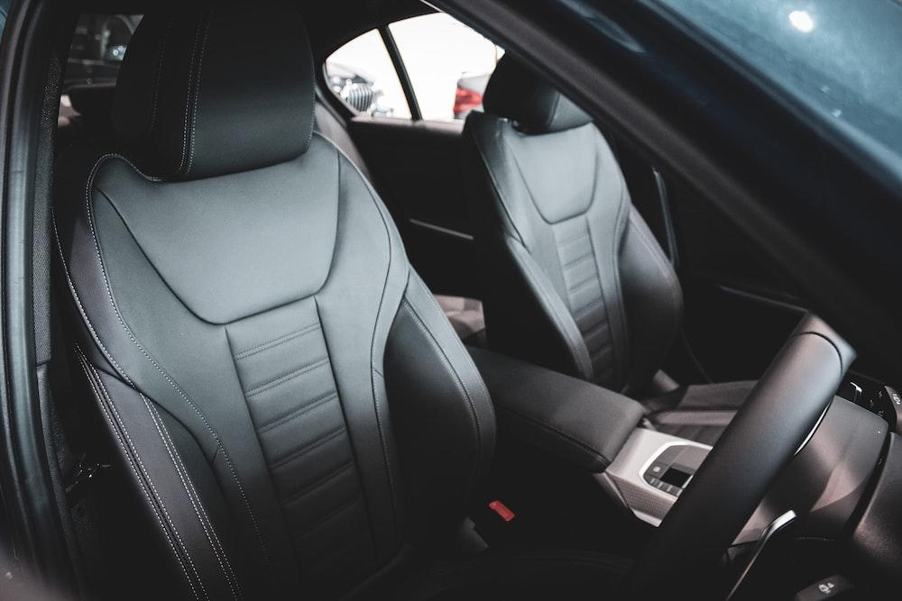 black leather car seat in car