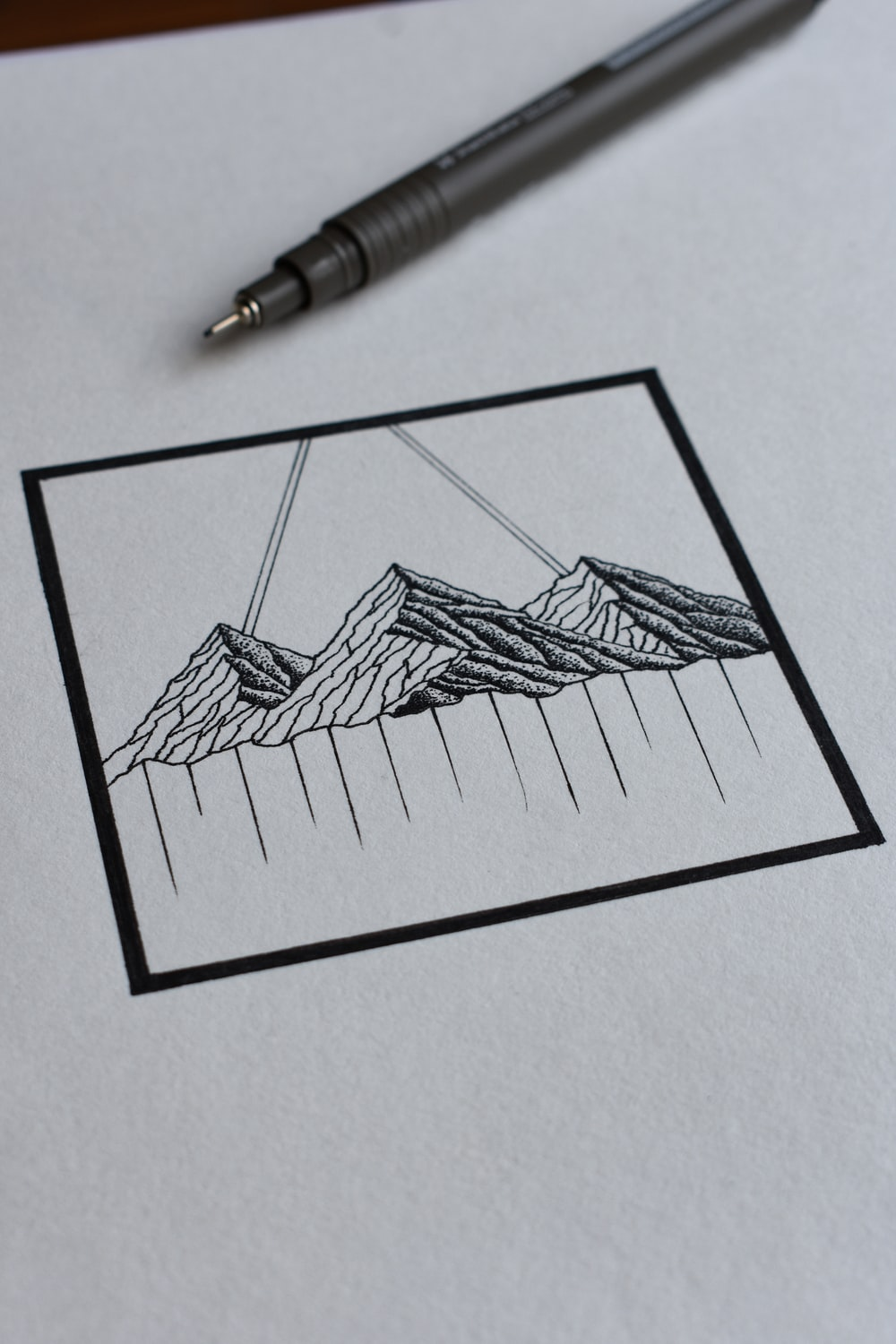 black and white sketch on white paper