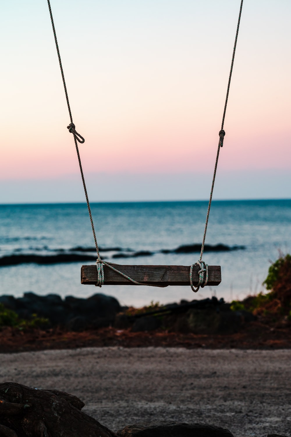 brown wooden swing near sea during daytime