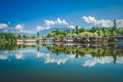 Srinagar brown wooden houses near body of water under blue sky during daytime