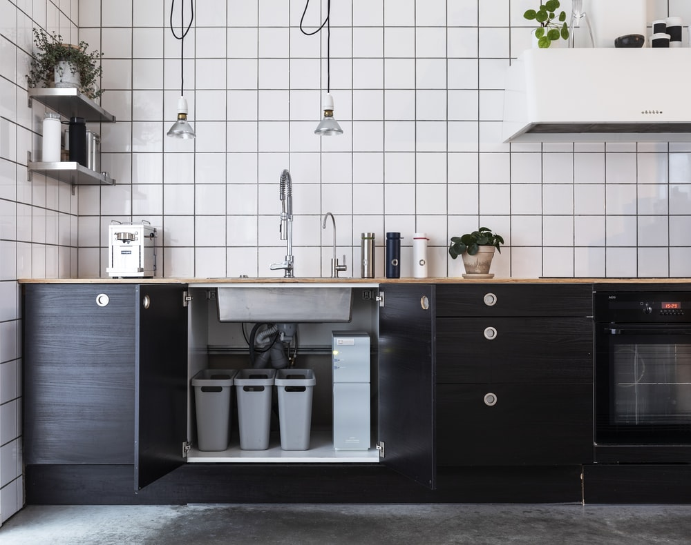 black and silver kitchen cabinet