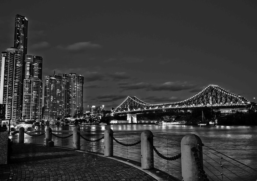 grayscale photo of city skyline