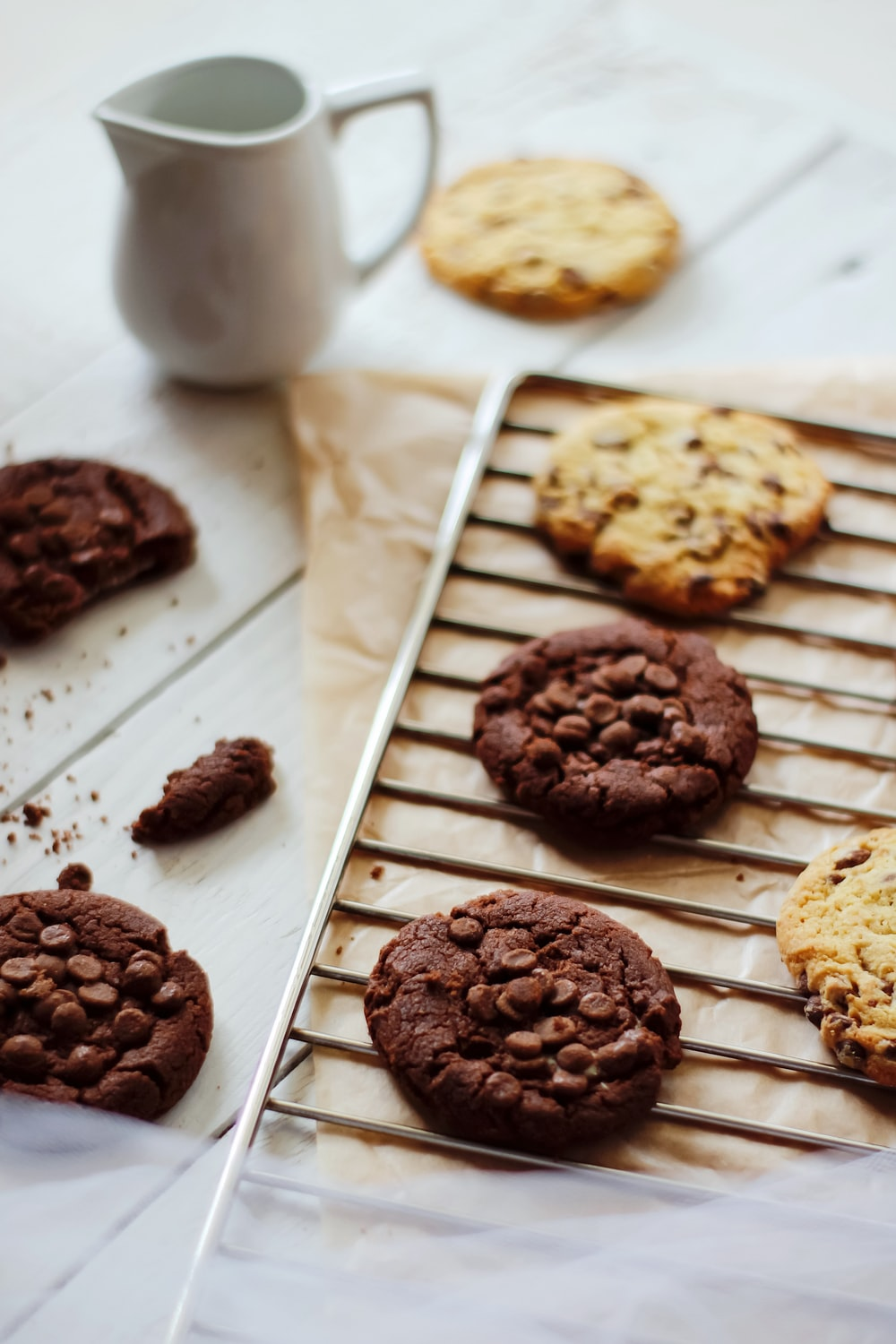 brown cookies on white tray