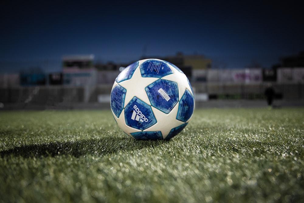 white blue soccer ball on green grass field during daytime
