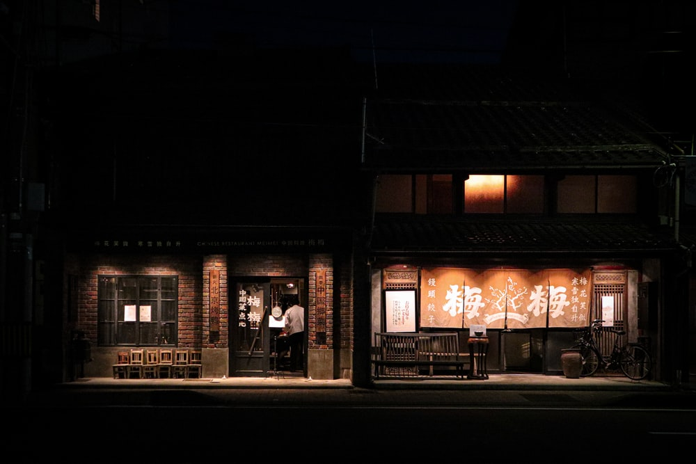 people standing in front of store during night time