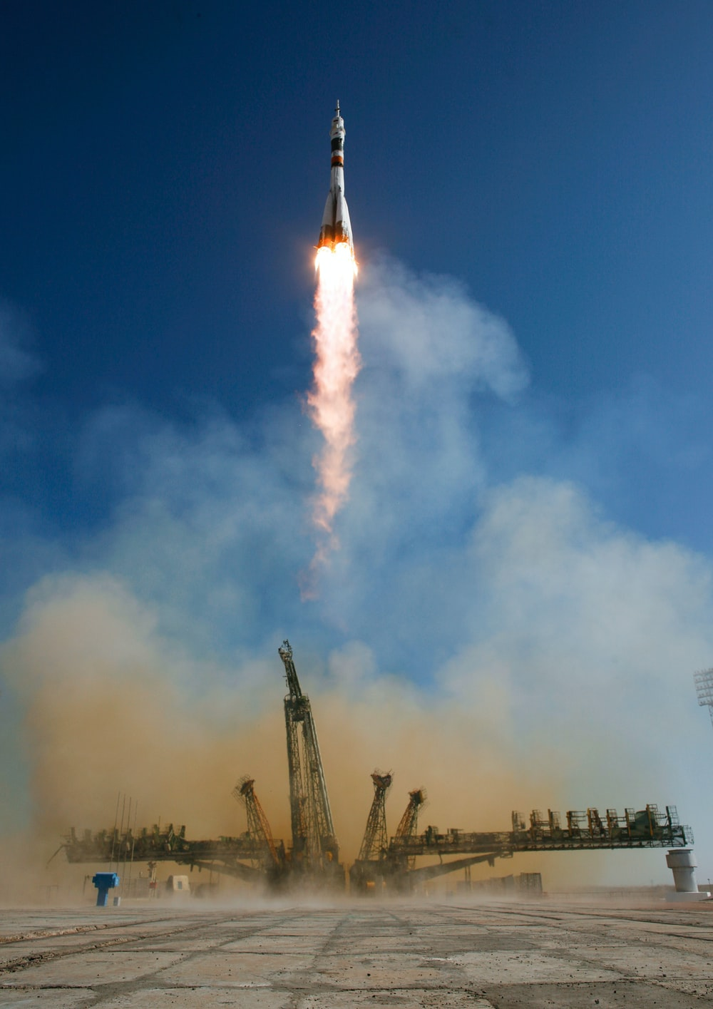 Soyuz rocket launches from Baikonur launch pad