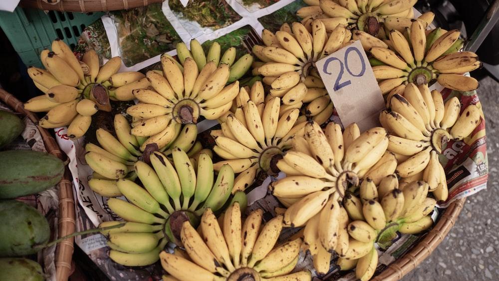 yellow banana fruit on white paper