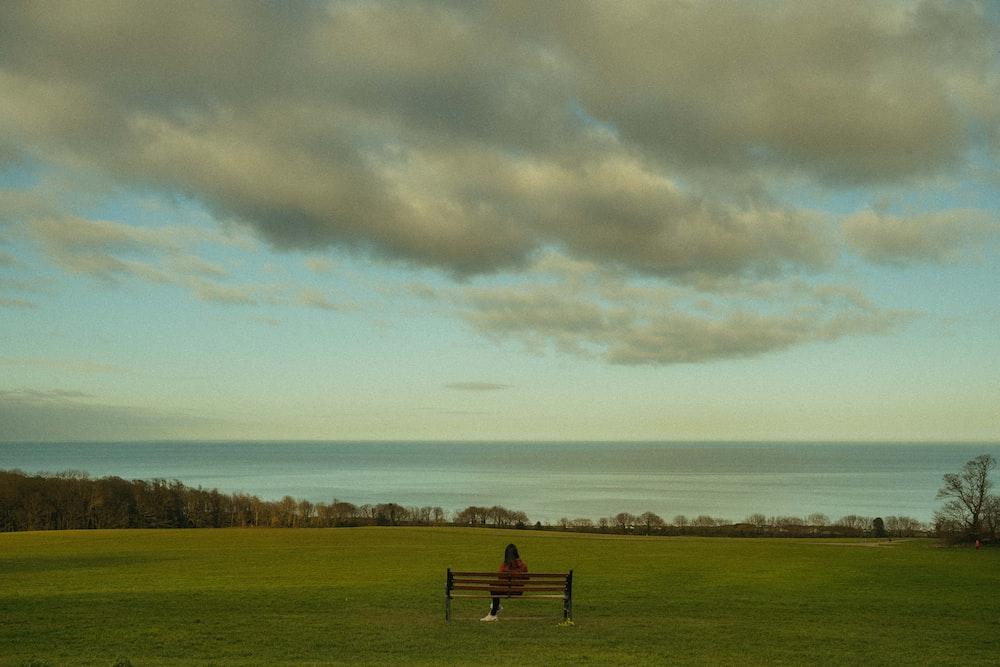 black wooden bench on green grass field under white clouds during daytime