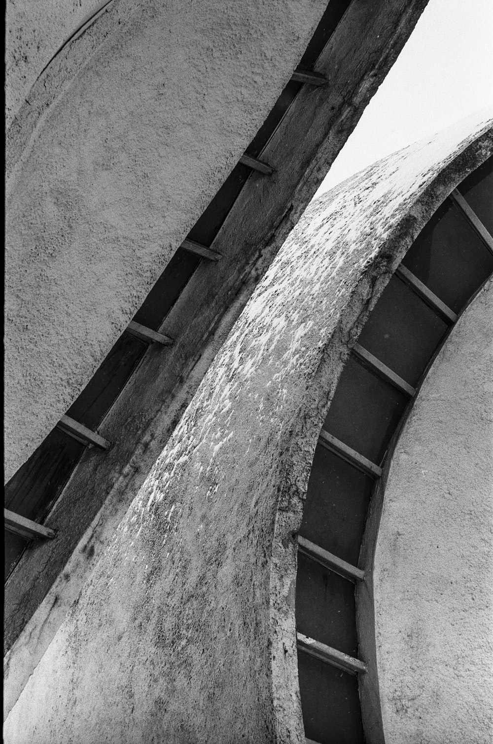grayscale photo of concrete stairs