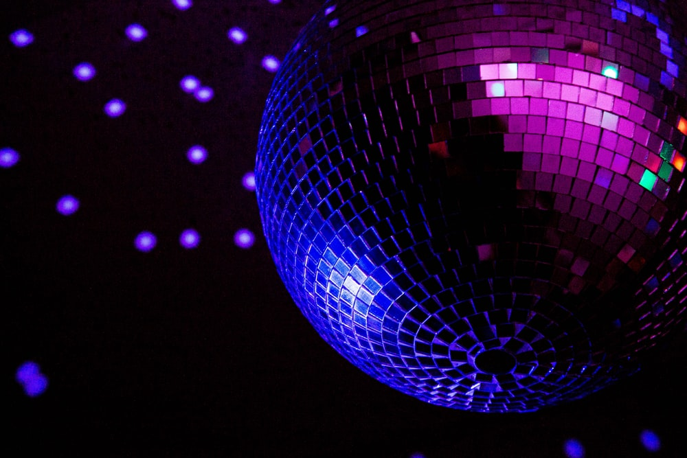 purple and blue ball with light