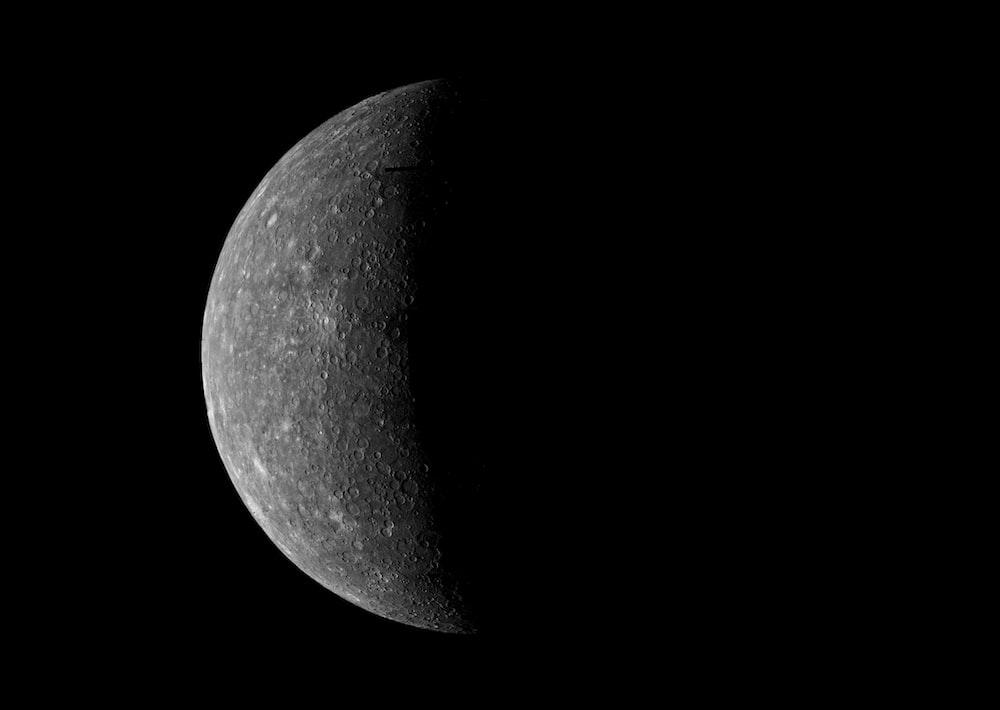 Mercury on a black background
