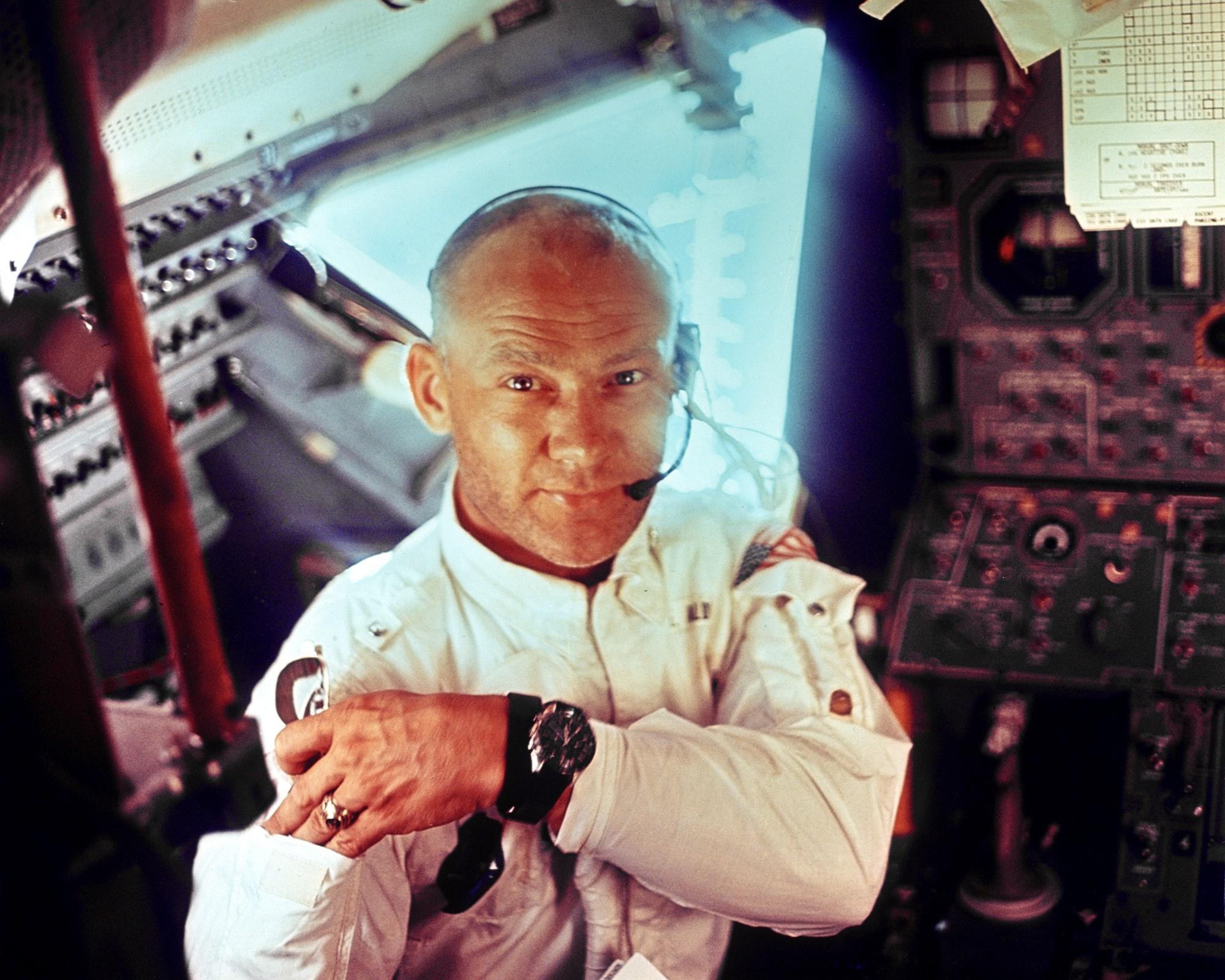 This interior view of the Apollo 11 Lunar Module shows Astronaut Edwin E. Aldrin, Jr., lunar module pilot, during the lunar landing mission