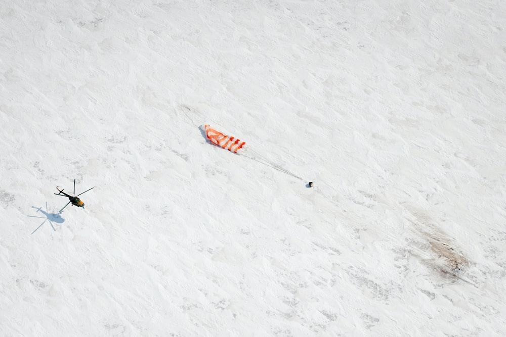 Parachute from Soyuz spacecraft lands on snow
