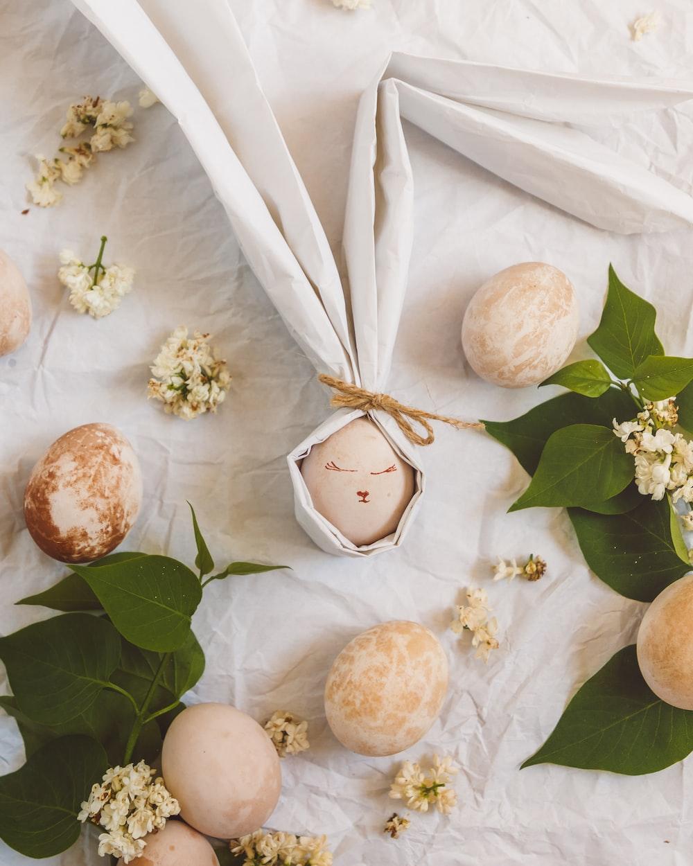 white and brown round fruit on white textile