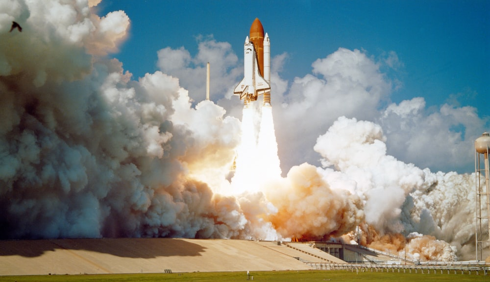 Space Shuttle Challenger launches from Kennedy Space Center