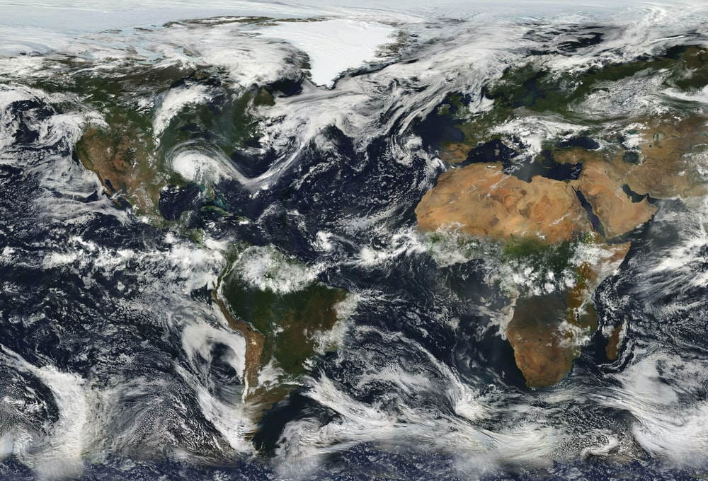 The continents and oceans with clouds