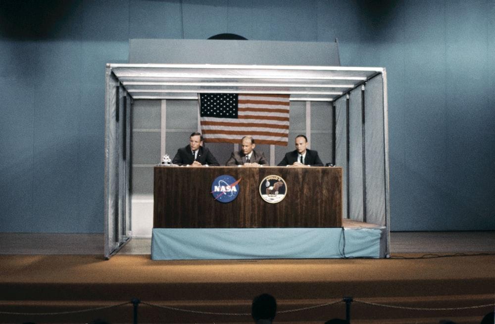 Apollo astronauts at a press conference