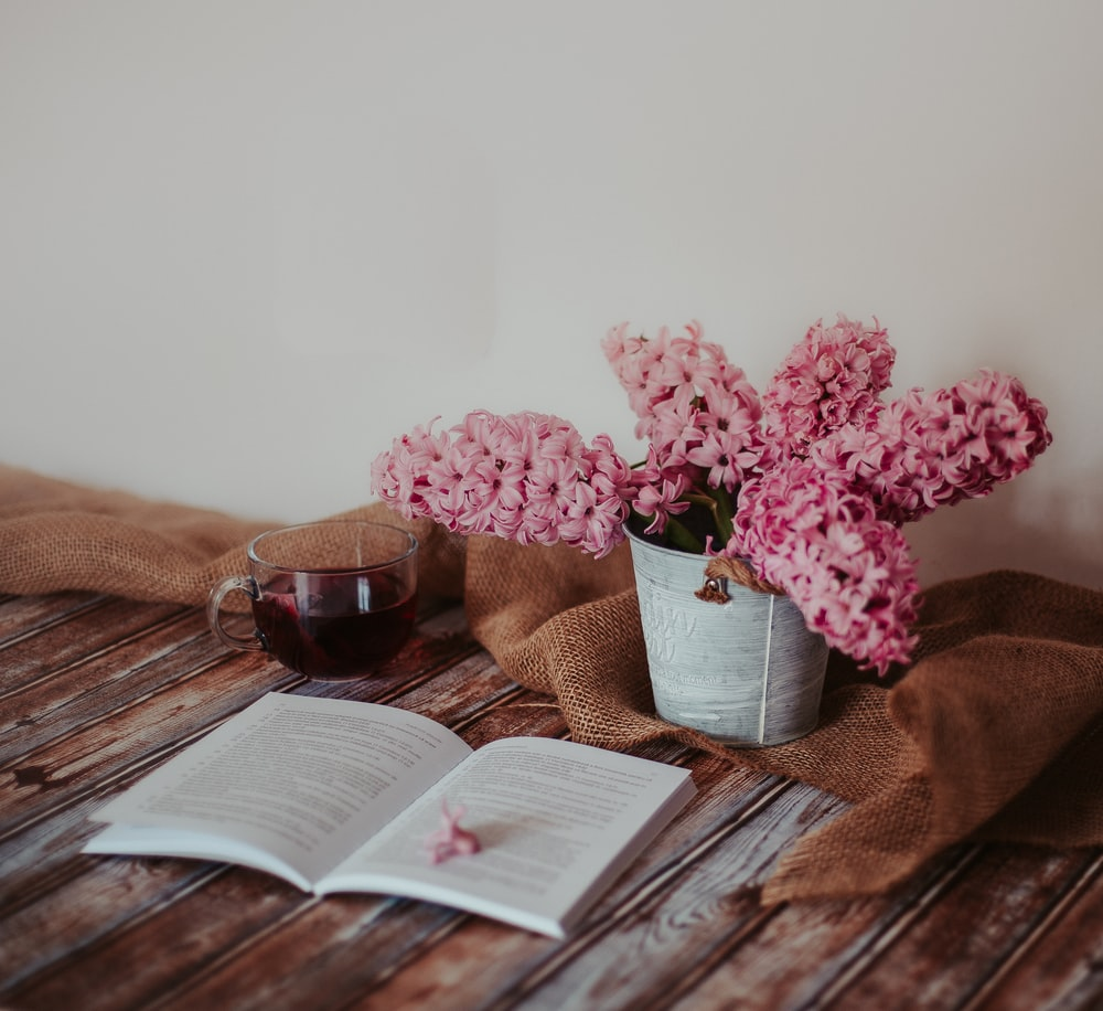 pink flowers on white ceramic vase