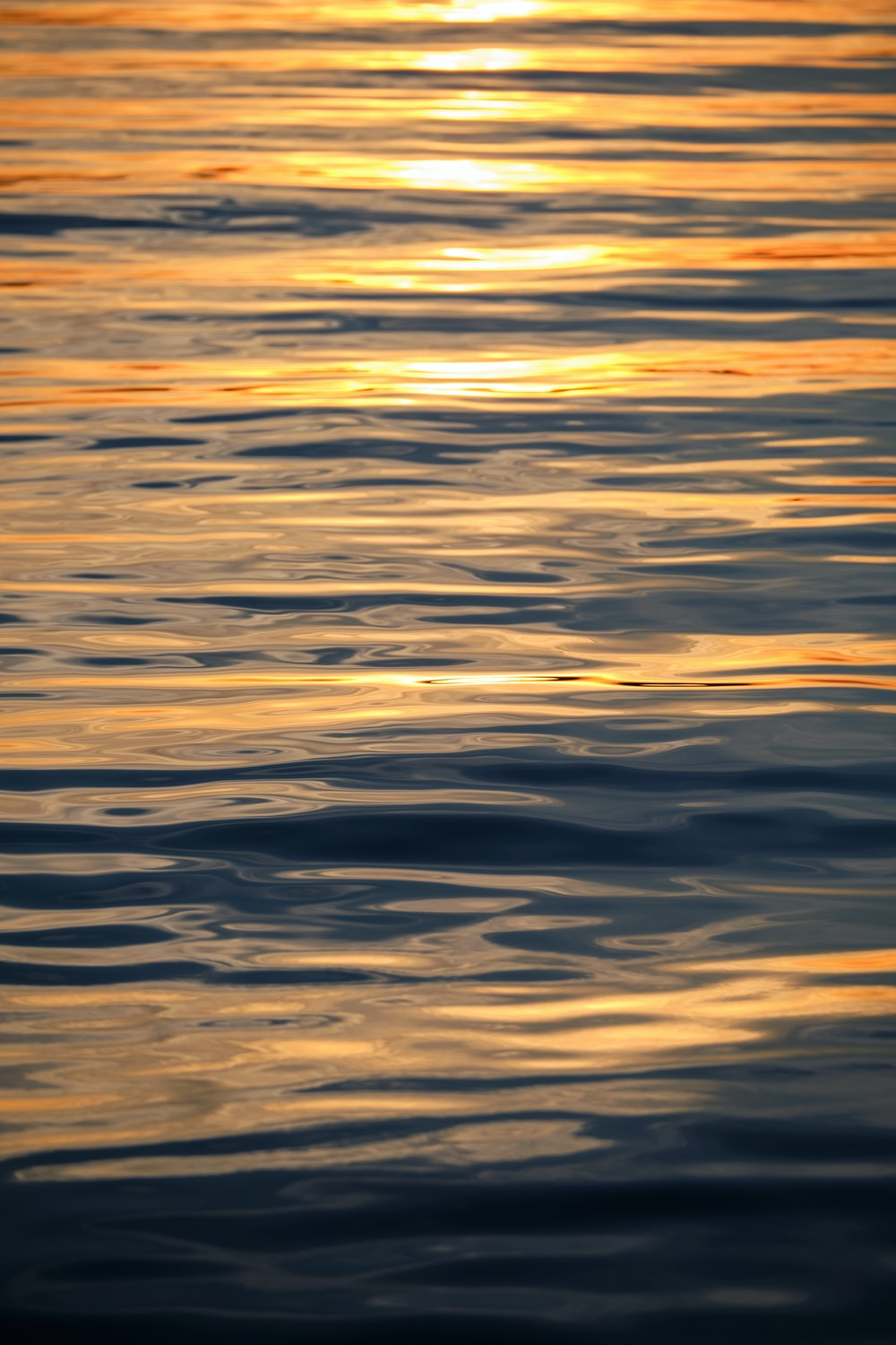 body of water during sunset