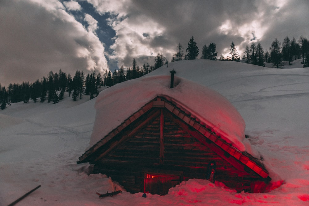 brown wooden house covered with snow near green trees under white clouds and blue sky during