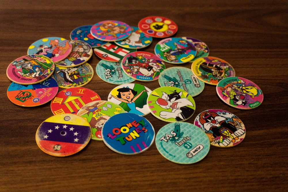 assorted color and pattern round stickers