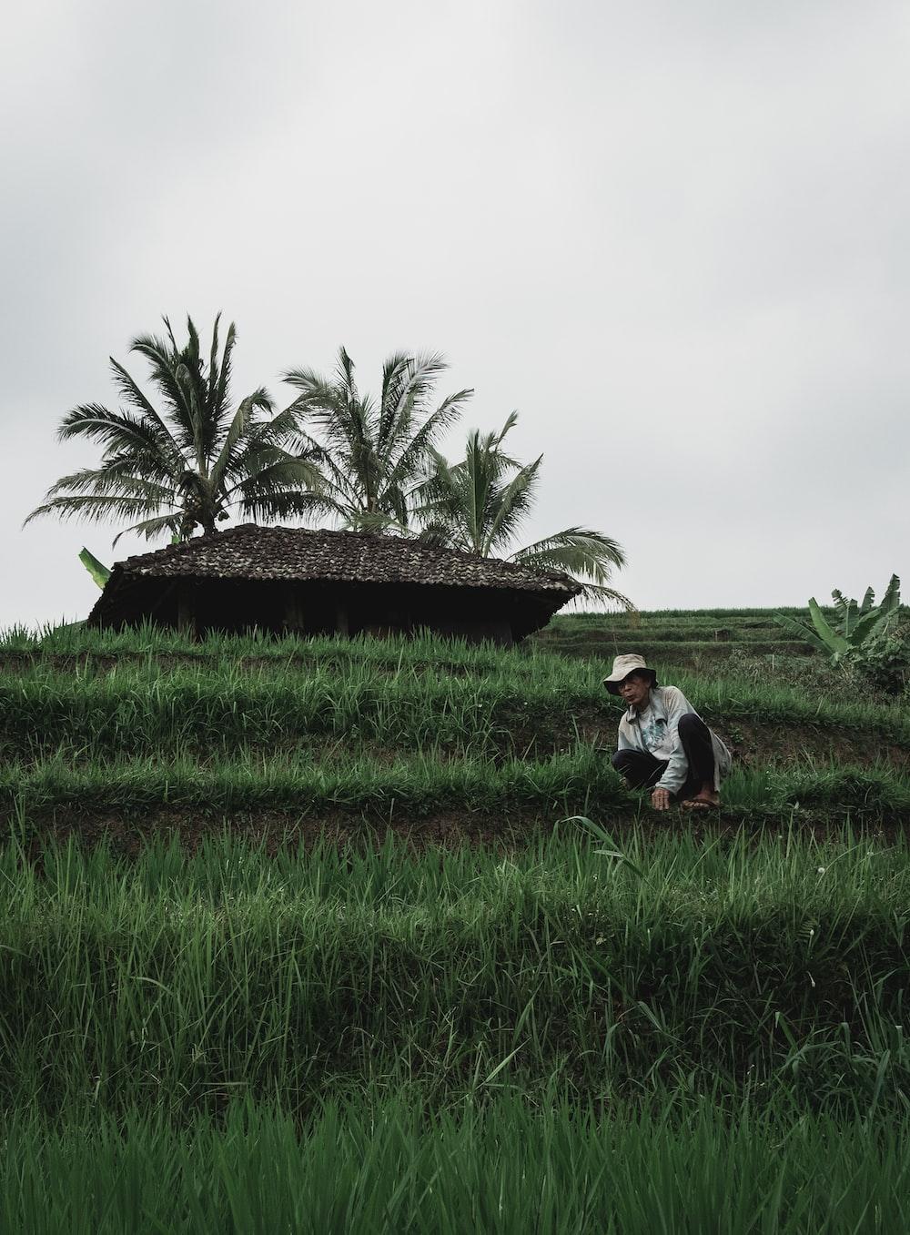 man in white shirt sitting on green grass field during daytime