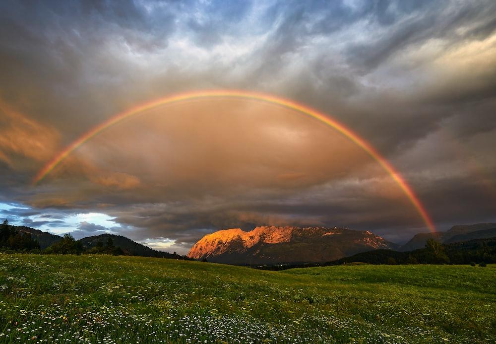 green grass field near brown mountain under rainbow