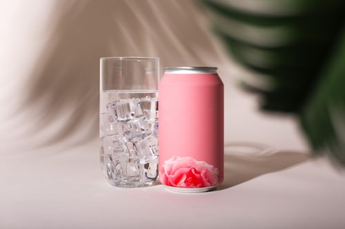 pink pillar candle in clear glass candle holder