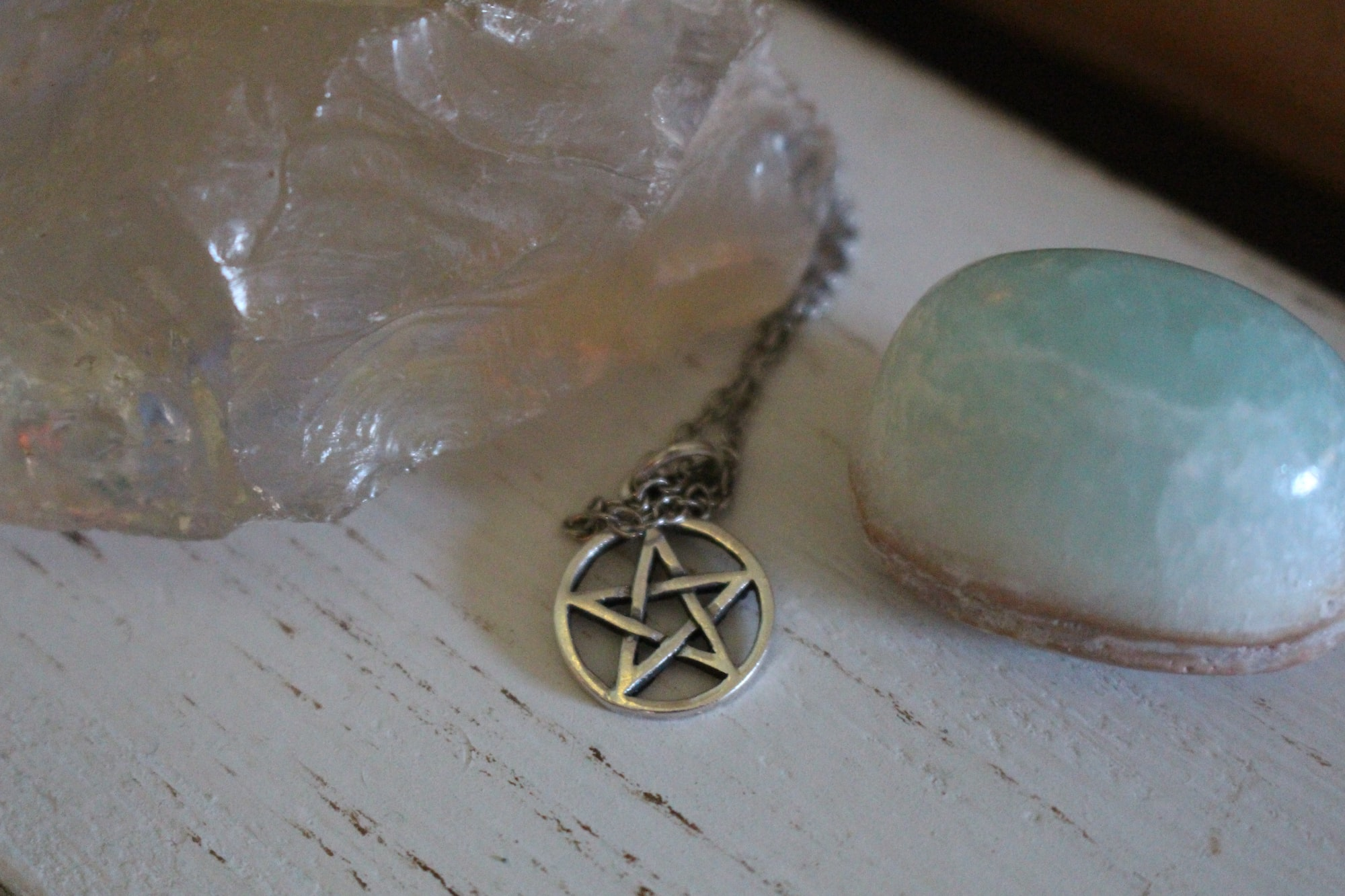 silver pentacle necklace with crystals