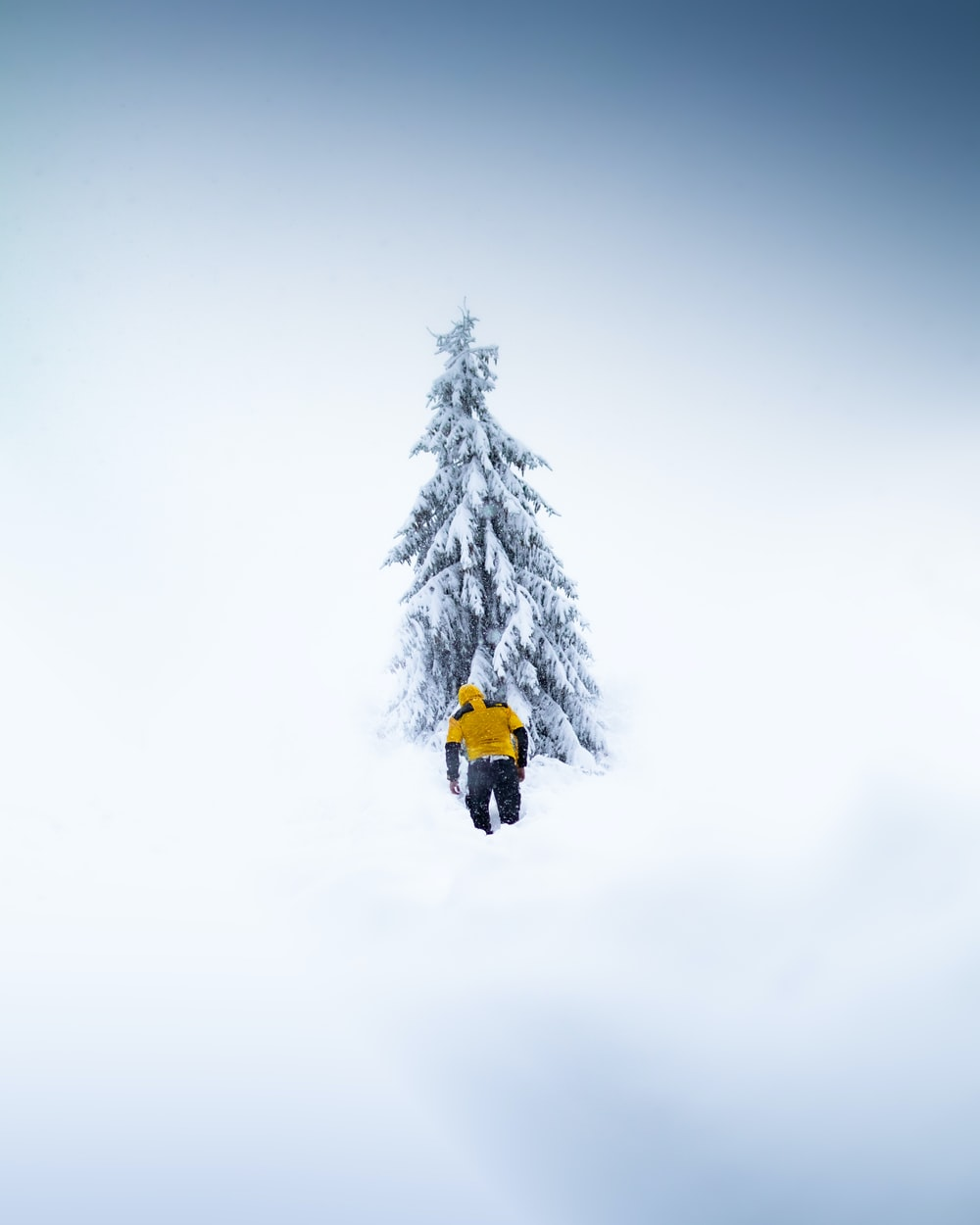 person in yellow jacket and black pants standing on snow covered ground