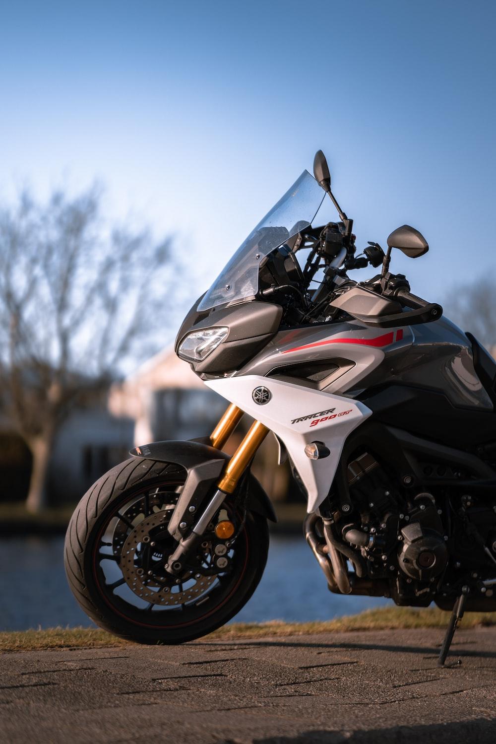 black and white sports bike