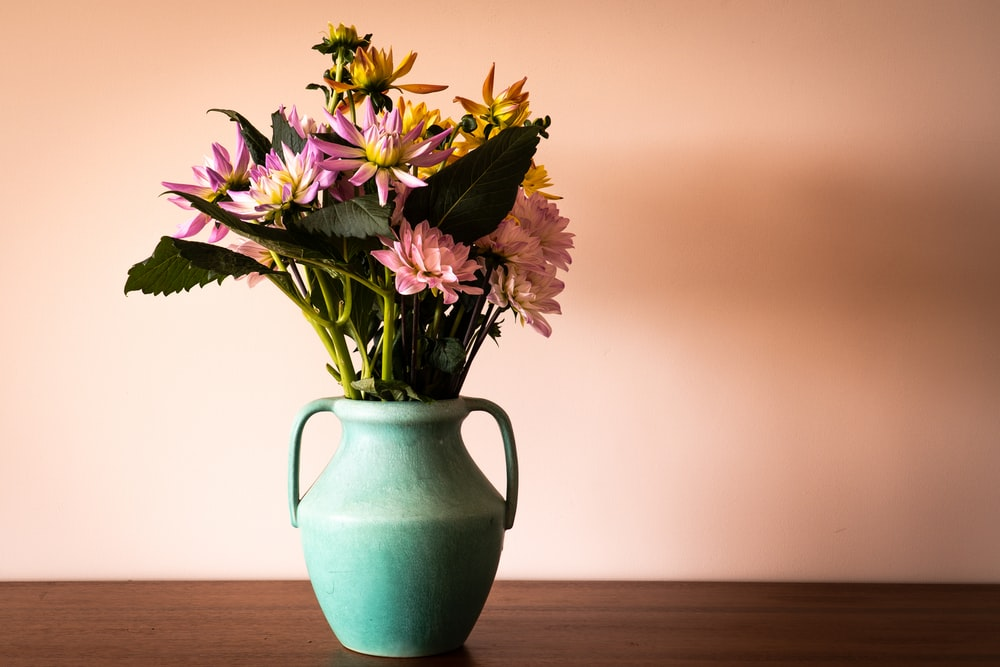 purple and white flowers in green ceramic vase