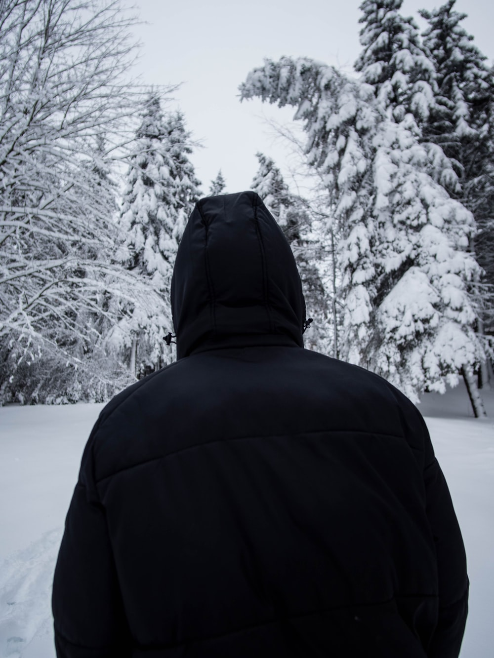 person in black hoodie standing on snow covered ground