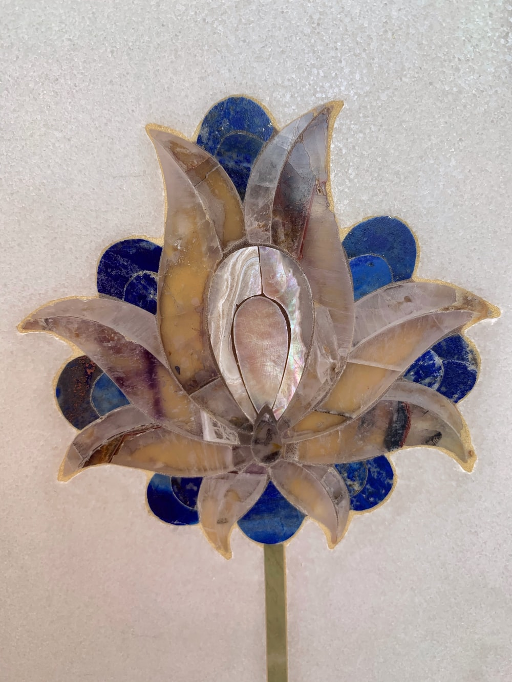 blue and white flower wall decor