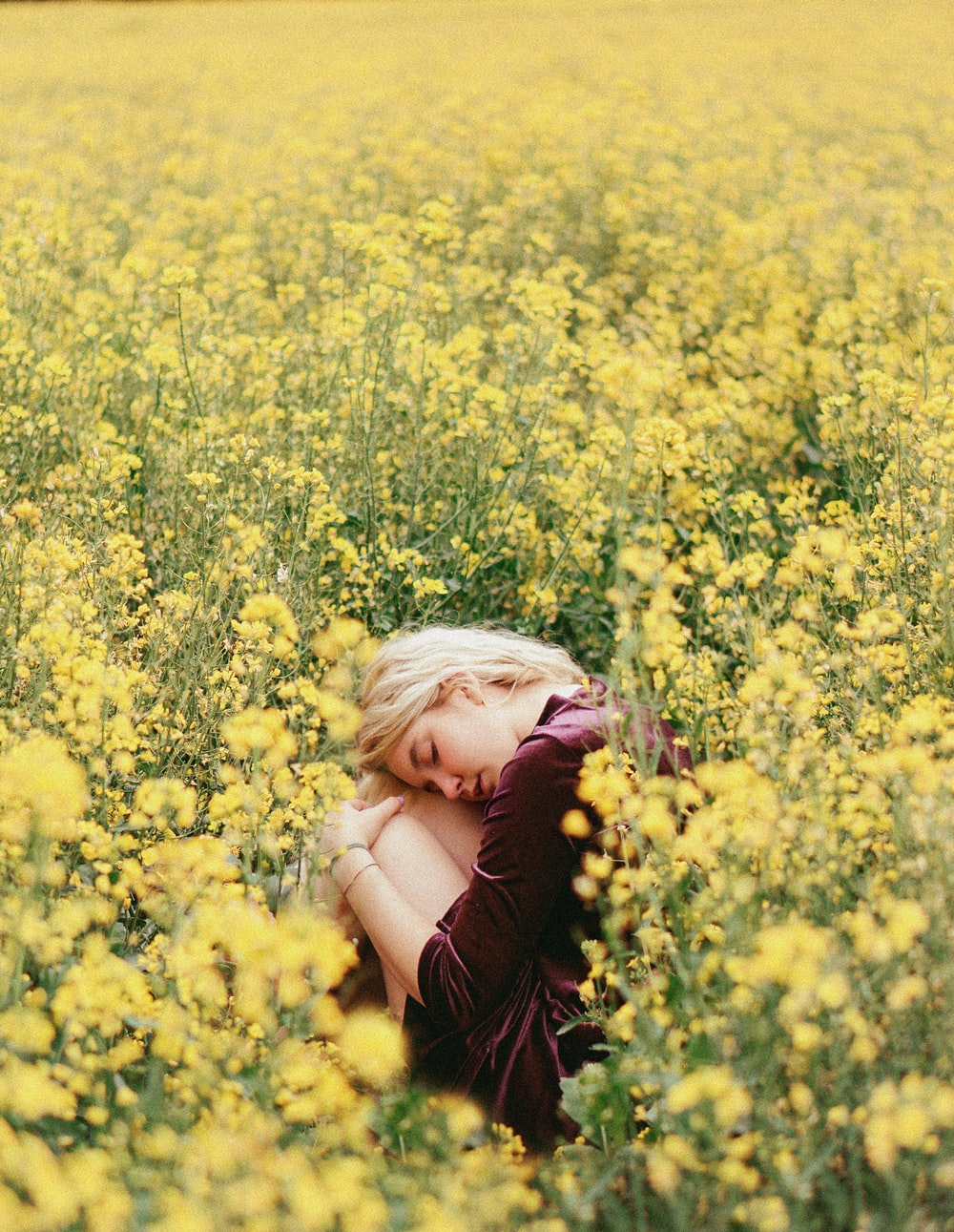 girl in pink shirt on yellow flower field during daytime