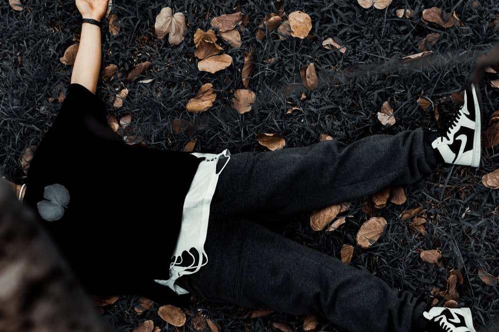 person in black pants standing on dried leaves