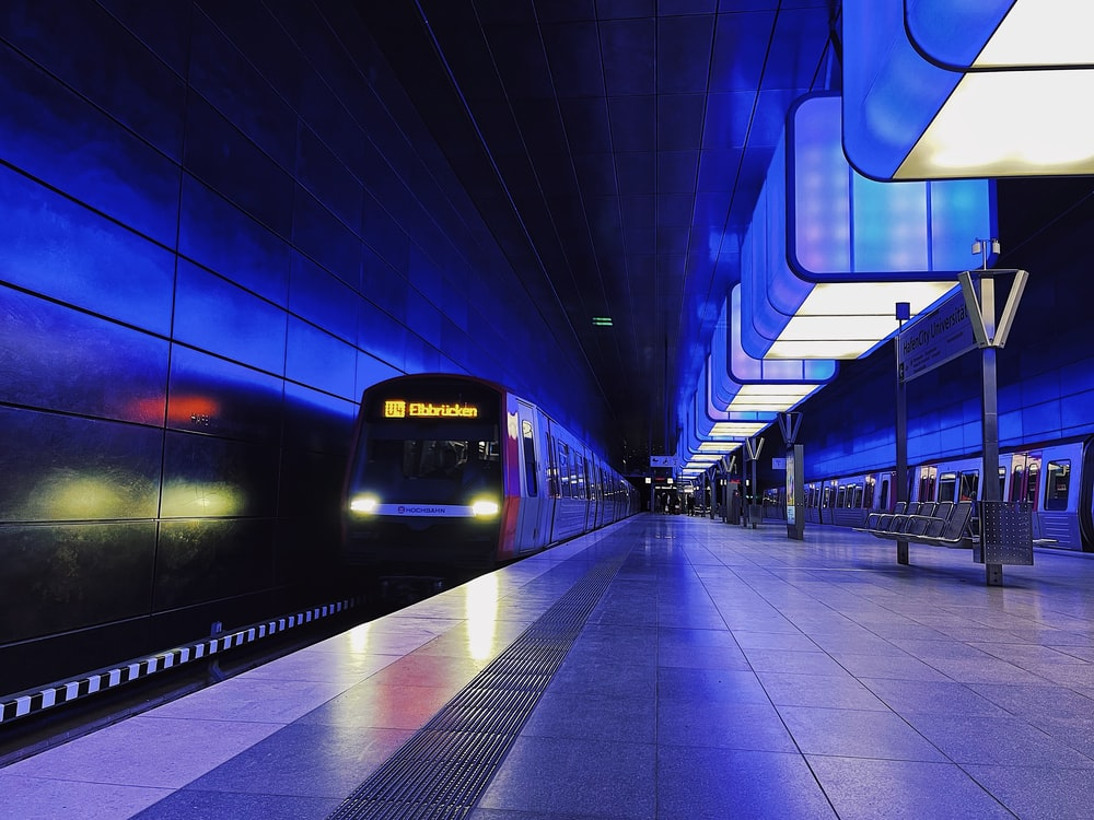 blue and white train station
