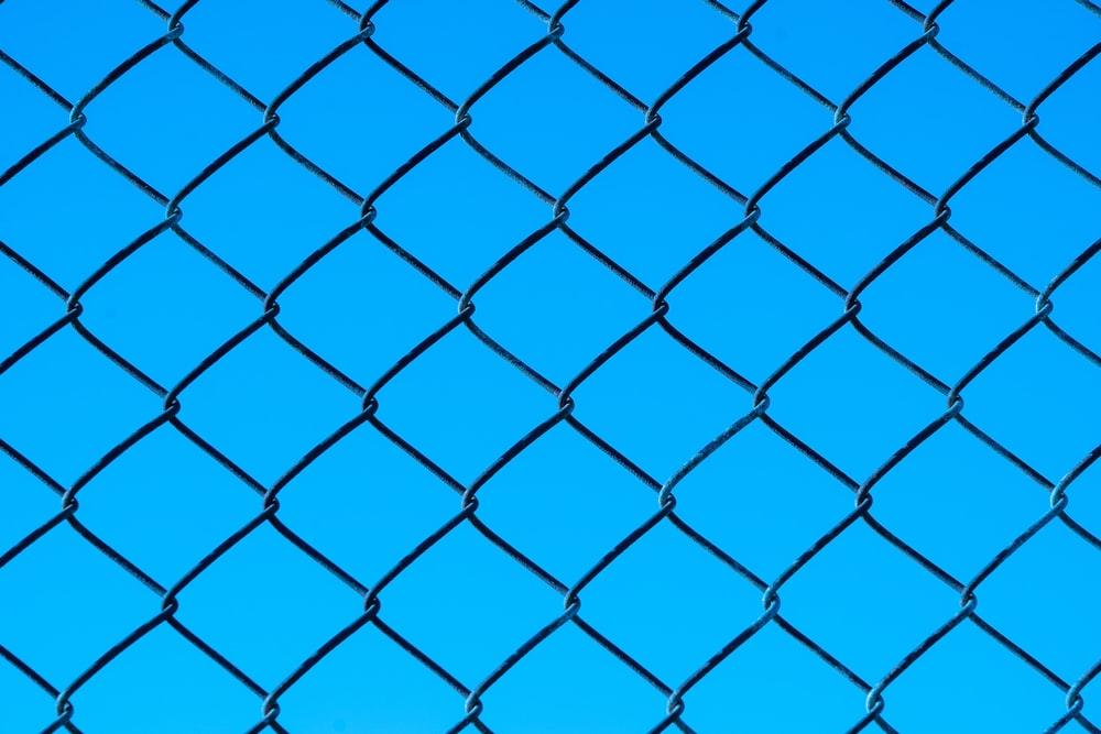 blue metal chain link fence