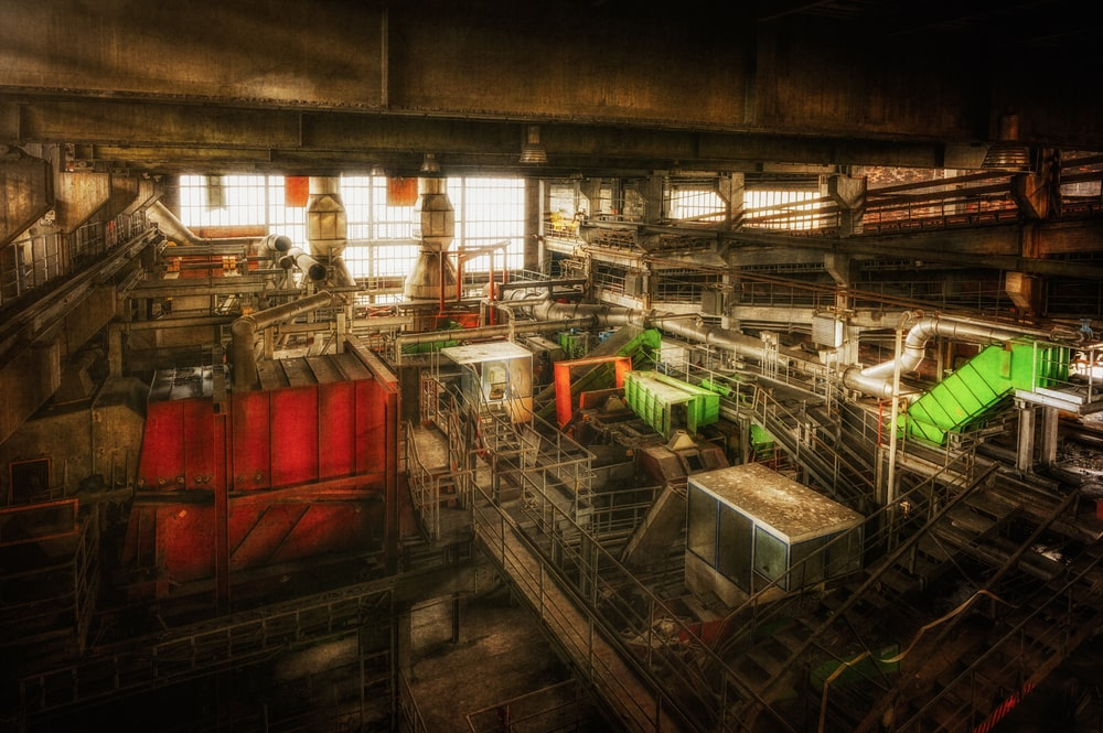 red and green industrial machine