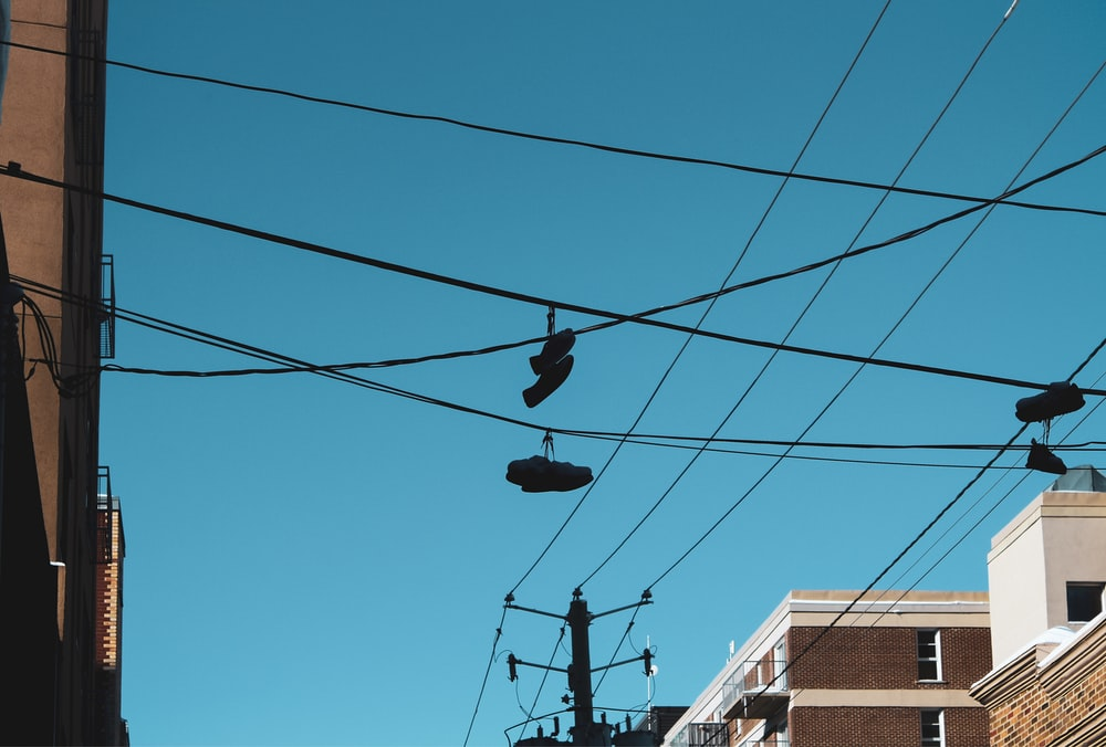 black and white cable cars