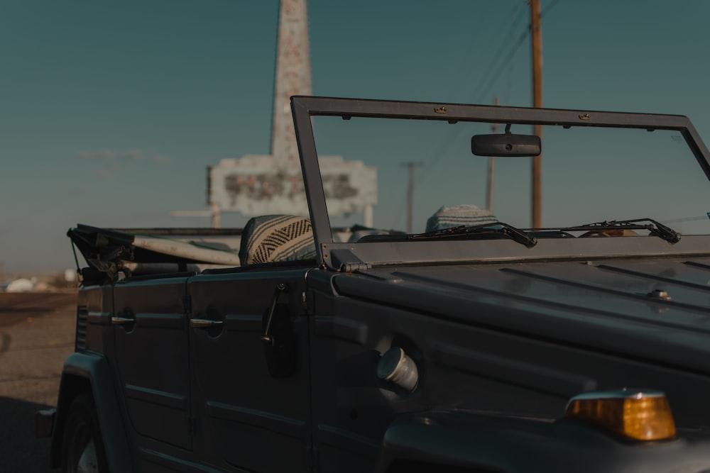 black crew cab pickup truck