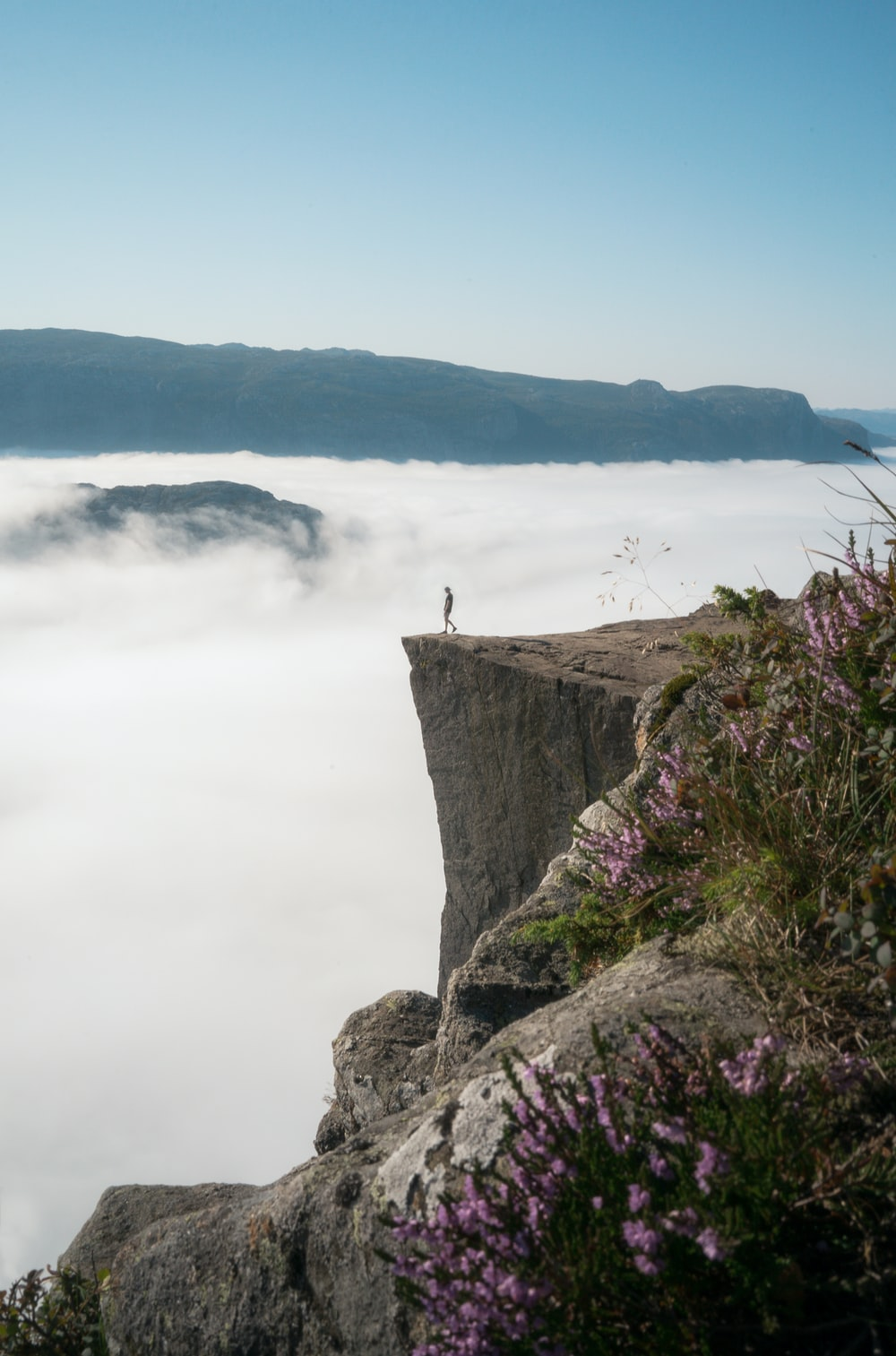 person standing on cliff near body of water during daytime