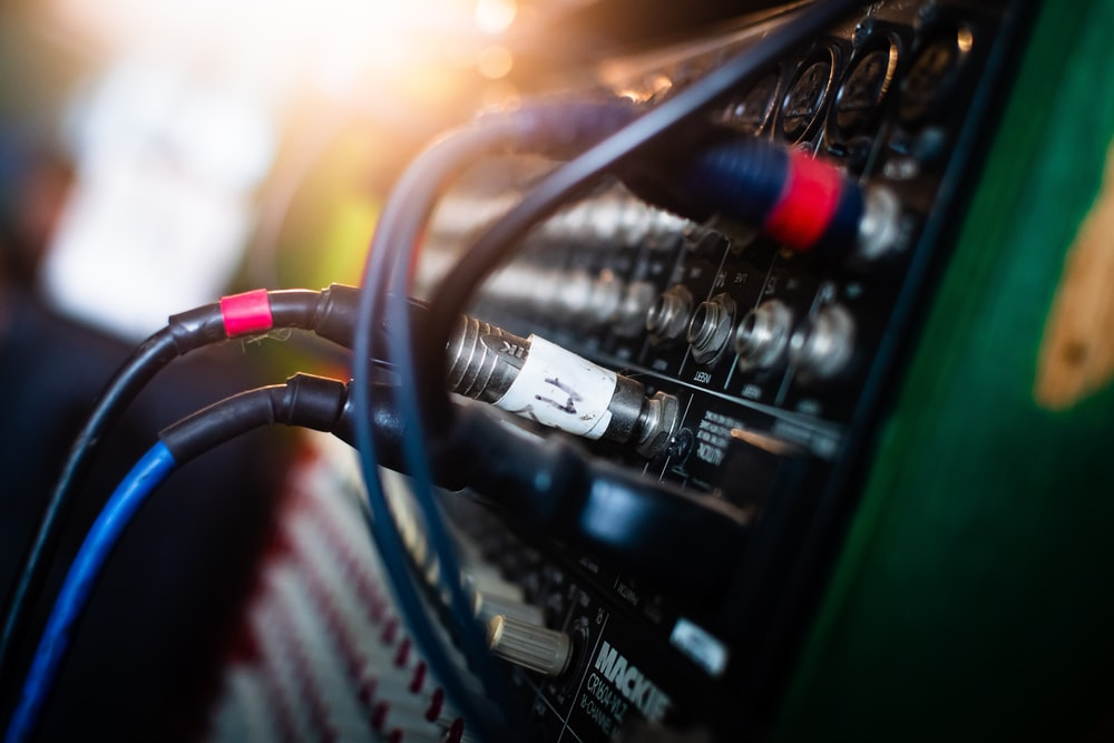 black and green audio mixer